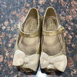 MINI MELISSA Gold Glitter Shoes